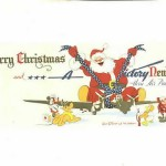 Santa_rides_Airplane_Victory_thru_Air_Power!_Disney_Postcard_Donald_Duck_with_Rifle